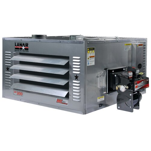 Lanair Products, LLC MX-Series 200,000 BTU Waste Oil Heater with Roof Chimney and 215 gal Tank