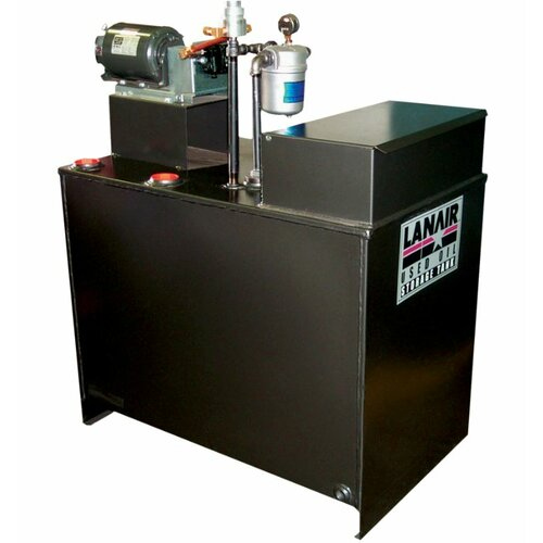 Lanair Products, LLC MX-Series 300,000 BTU Ductable Waste Oil Heater with Wall Chimney and 80 gal Tank