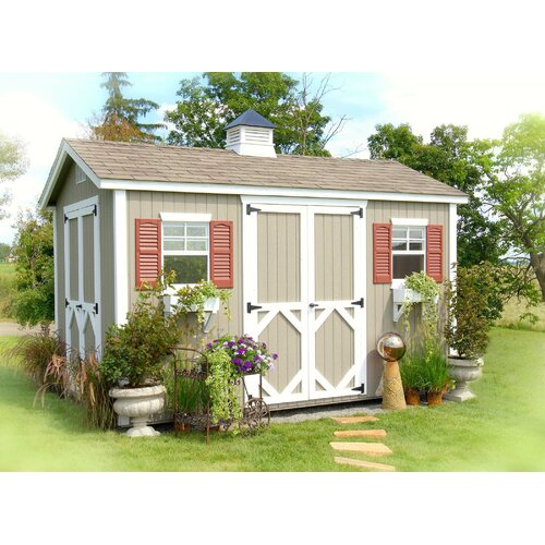 "Little Cottage Company 12'1"" W x 12'1"" D Wood Garden Shed"