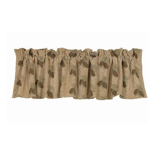 """HiEnd Accents Pine Cones Rod Pocket Tailored 84"""" Curtain Valance"""