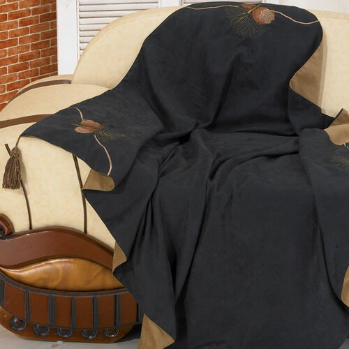 Black Pine Reversible Pine Cone Polyester Throw
