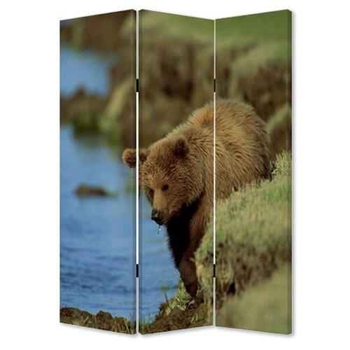 "Screen Gems 72"" x 48"" Bear Screen 3 Panel Room Divider"