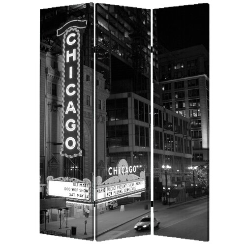 "Screen Gems 71"" x 47"" Chicago 3 Panel Room Divider"