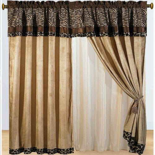 DownTown Company Zebra Micro Fur Rod Pocket Curtain Panel