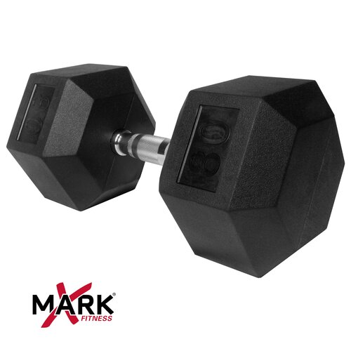 X-Mark 80 lb Rubber Hex Dumbbell