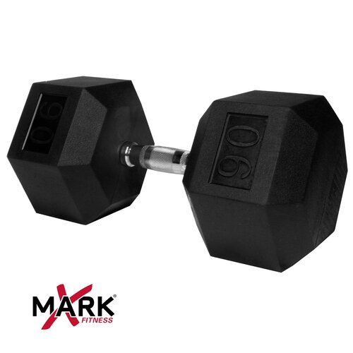 X-Mark 90 lb Rubber Hex Dumbbell