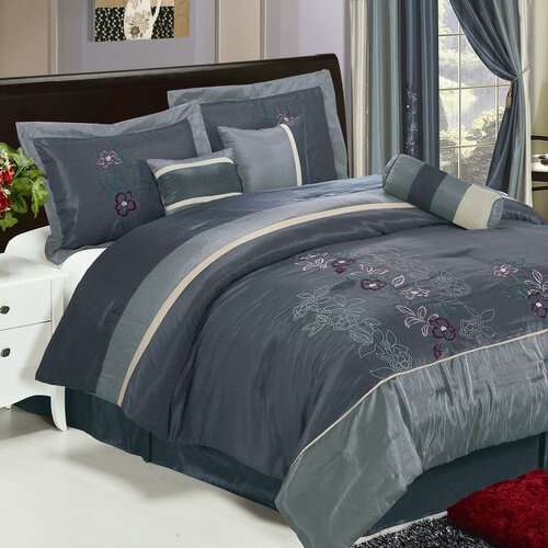 LaCozee Shades of Floral Embroidered 7 Piece Comforter Set