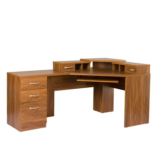 OS Home & Office Furniture Office Adaptations Corner Computer Desk with Monitor Platform ...
