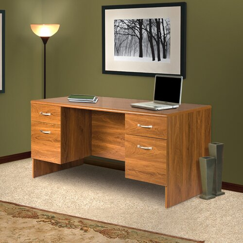 OS Home & Office Furniture Office Adaptations Executive Desk with Double Pedestal