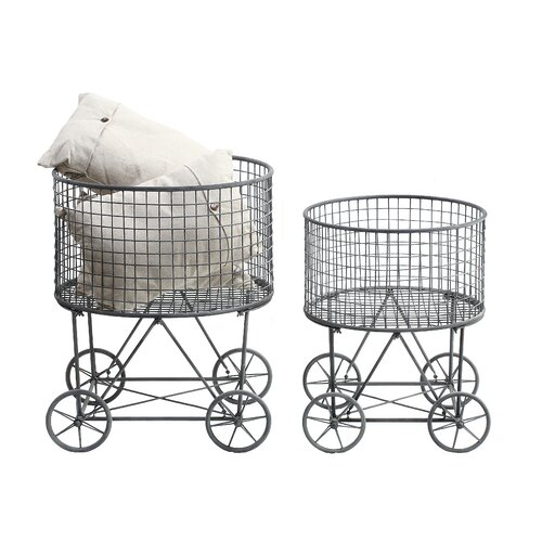 Casual Country Metal Reproduction 2 Piece Laundry Basket