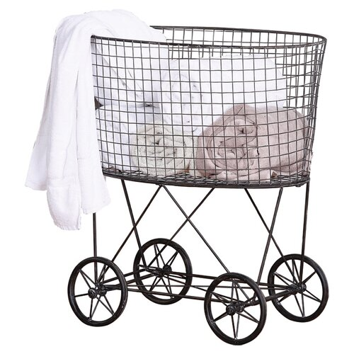 casual country metal vintage laundry basket with wheels wayfair. Black Bedroom Furniture Sets. Home Design Ideas