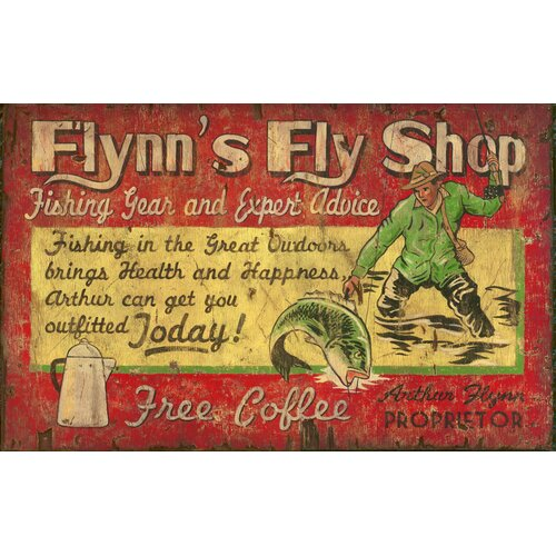 Vintage Signs Flynn's Fly Shop Vintage Advertisement Plaque