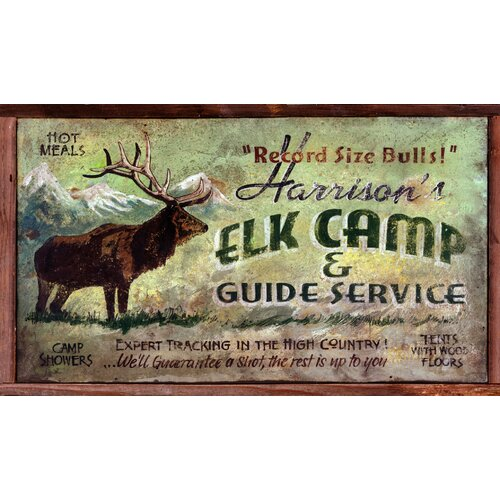 Elk Camp Vintage Advertisement Plaque