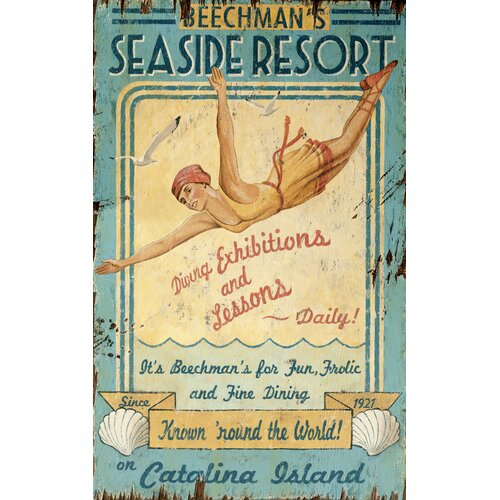 Seaside Resort Vintage Advertisement Plaque