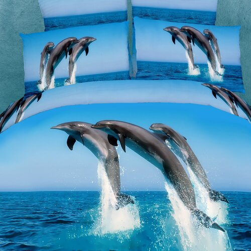 Dolce Mela Dolce Mela Atlantic Dolphins 6 Piece Duvet Cover Set
