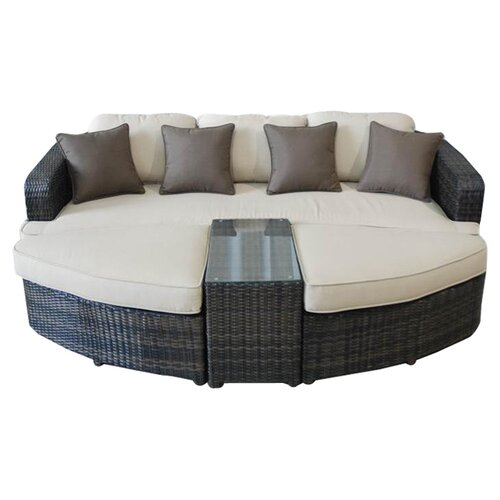 Kontiki All Weather Wicker 4 Piece Lounge Seating Group with Cushions