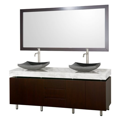 "Wyndham Collection Malibu 72"" Double Bathroom Vanity Set"