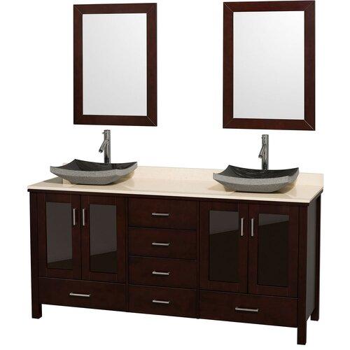 "Wyndham Collection Lucy 72"" Double Bathroom Vanity Set"