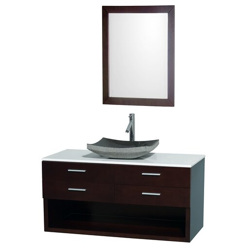 "Wyndham Collection Andrea 48"" Wall-Mounted Bathroom Vanity Set"