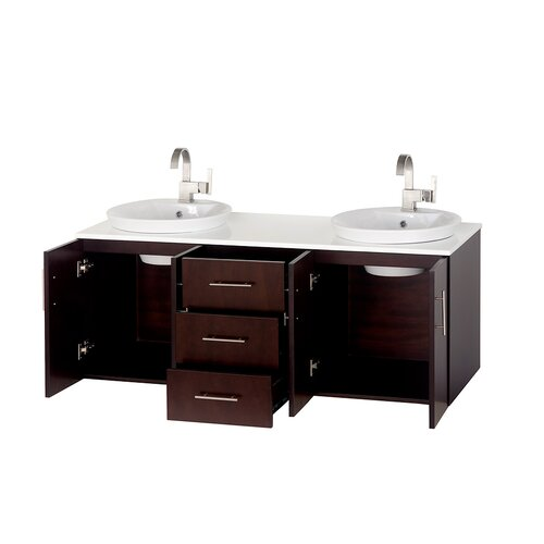 "Wyndham Collection Arrano 55"" Double Bathroom Vanity Set"