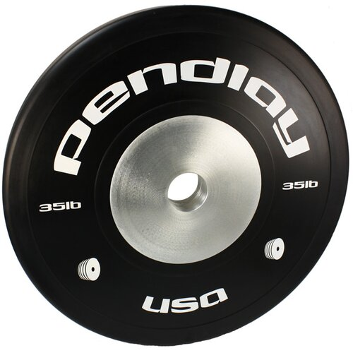 35 lb Elite Black Bumper Plates in White Ink (Set of 2)