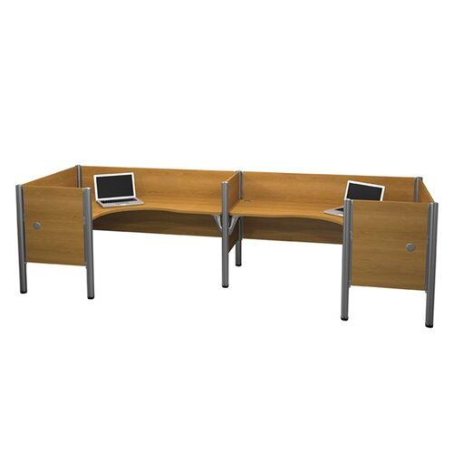 Bestar Pro-Biz Double Side-by-Side L-Desk Workstation with 4 Privacy Panels (Per Workstation)