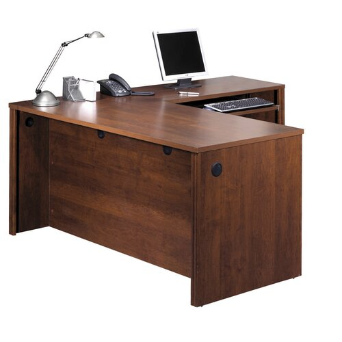 Bestar Embassy L-Shaped Workstation Kit Including Assembled Pedestal