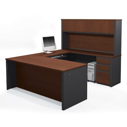 Bestar Prestige + U-Shape Desk with Hutch