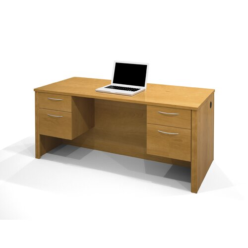 Bestar Embassy Computer Desk with Dual Half Pedestals