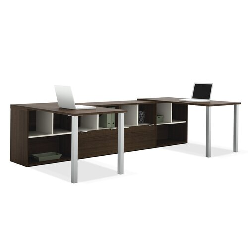 Bestar Contempo Double L-Shaped Desks with Storage