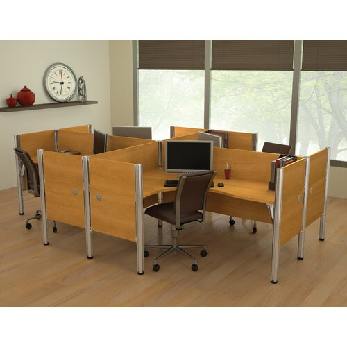 Bestar Pro-Biz Four L-Desk Workstation with 4 Privacy Panels