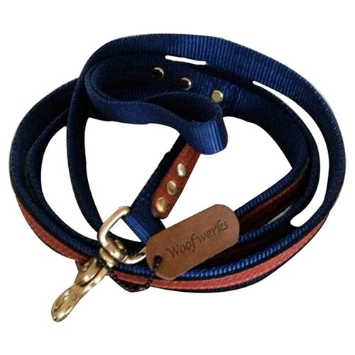 Woofwerks Cooper with Antique Leather Overlay Dog Leash