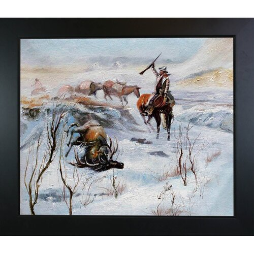 Tori Home Christmas Dinner for the Men on the Trail by Russell Framed Original Painting ...