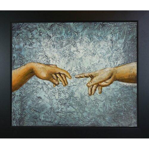 Tori Home Creation of Adam by Michelangelo Framed Original Painting