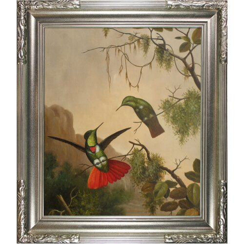 Tori Home Heade Two Hooded Visorbearer Hummingbirds by Johnson Framed Original Painting