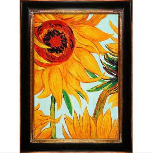 Tori Home Sunflowers (Detail) by Van Gogh Framed Original Painting