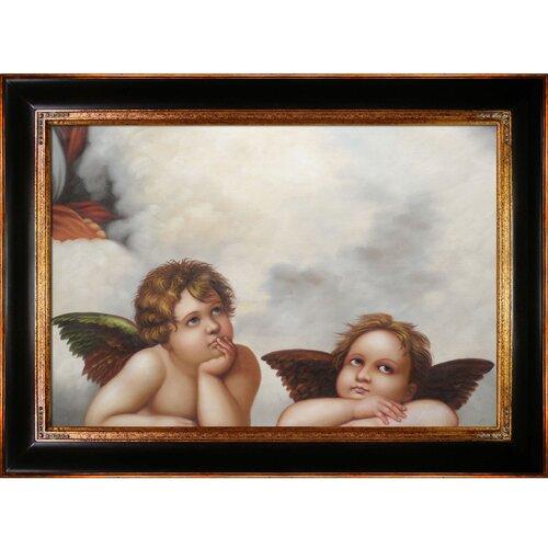 Madonna Sixtina (2 cherubs detail) Raphael Framed Original Painting