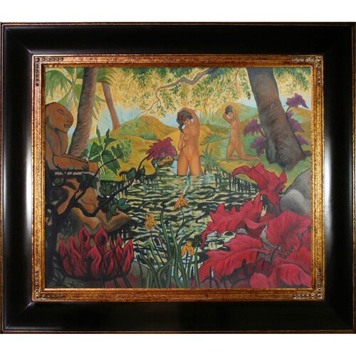 Tori Home The Bathing Place or Lotus Ranson Framed Original Painting