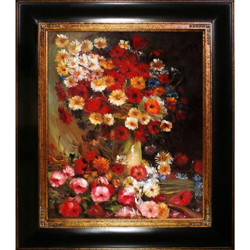 Tori Home Vase with Poppies Cornflowers Peonies and Chrysanthemums by Van Gogh Framed Hand ...