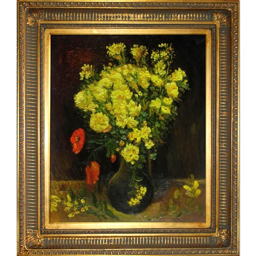 Tori Home Vase with Viscaria (Poppy Flowers) by Van Gogh Framed Hand Painted Oil on ...