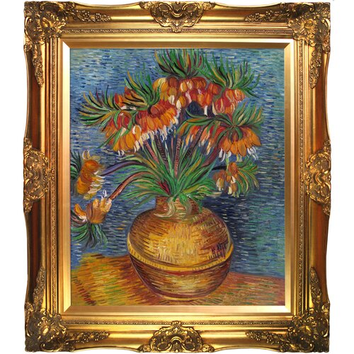 Tori Home Crown Imperial Fritillaries in a Copper Vase by Van Gogh Framed Hand Painted ...