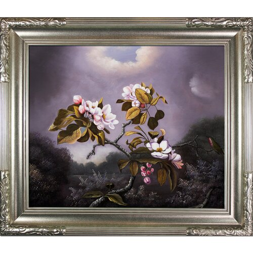 Apple Blossoms and Hummingbird by Martin Johnson Heade Framed Hand Painted Oil on Canvas
