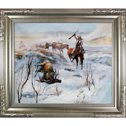 Tori Home Christmas Dinner for the Men on the Trail by C. M. Russell Framed ...