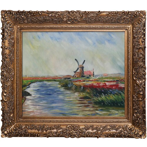 Tulip Field in Holland by Monet Framed Hand Painted Oil on Canvas