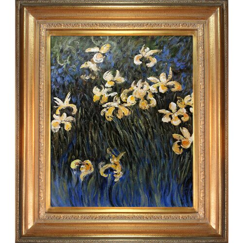Tori Home Irises by Monet Framed Hand Painted Oil on Canvas in Yellow