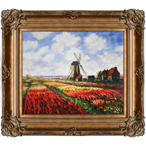 Tori Home Tulip Field with Rijnsburg Windmill by Monet Framed Hand Painted Oil on Canvas ...
