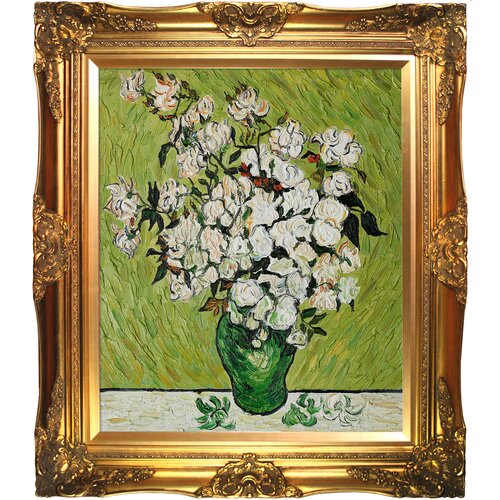 Tori Home Vase with Roses by Van Gogh Framed Hand Painted Oil on Canvas