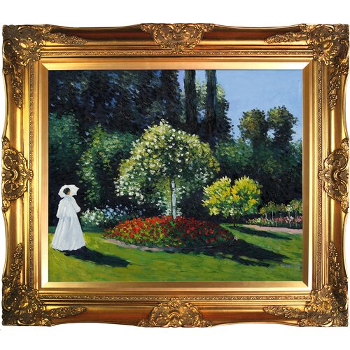 Tori Home Jeanne Marguerite Lecadre (Lady in a Garden) by Monet Framed Original Painting