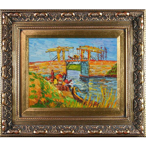 Langlois Bridge at Arles with Women Washing by Van Gogh Framed Hand Painted Oil on ...
