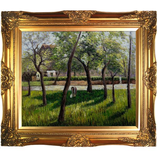 Tori Home An Enclosure in Eragny by Jacob-Abraham-Camille Pissarro Framed Hand Painted Oil on ...